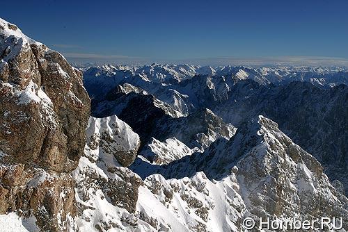 Вид на Альпы с Zugspitze